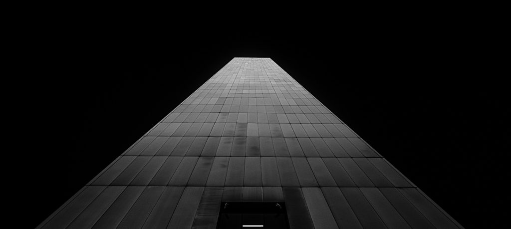 tall building in black and white.
